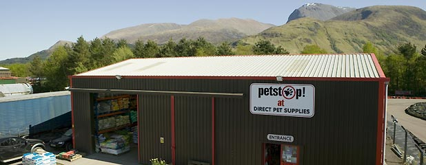 Our pet shop in Fort William with Ben Nevis in the background